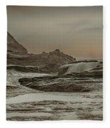 Sundown Over The Ocean Rocks Fleece Blanket