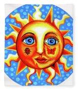 Sunface With Ladybug Fleece Blanket