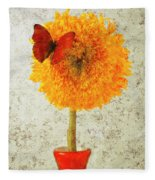 Sunflower And Red Butterfly Fleece Blanket