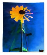 Sunflower And The Wind Spirit Fleece Blanket