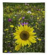 Sunflower And Wildflowers Fleece Blanket