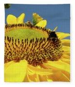 Sunflower Art Prints Honey Bee Sun Flower Floral Garden Fleece Blanket