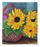Sunflower Basket Fleece Blanket