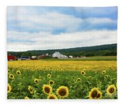 Sunflower Country Landscape  Fleece Blanket