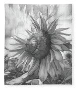 Sunflower Dawn Black And White Drawing Fleece Blanket