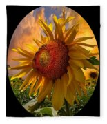 Sunflower Dawn In Oval Fleece Blanket