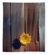 Sunflower In Barn Wood Fleece Blanket