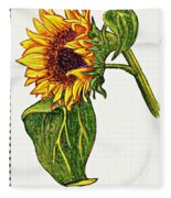 Sunflower In Gouache Fleece Blanket