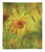 Sunflower In The Wind Painting Fleece Blanket