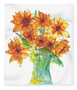 Sunflower Medley II Watercolor Painting By Kmcelwaine Fleece Blanket