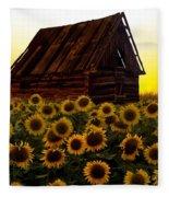 Sunflower Morning With Barn Fleece Blanket