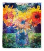 Sunflower Mosaic Fleece Blanket