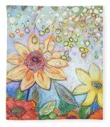 Sunflower Tropics Part 2 Fleece Blanket