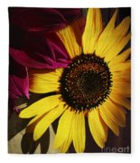 Sunflower With Dahlia Fleece Blanket