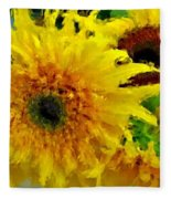 Sunflowers - Light And Dark Fleece Blanket