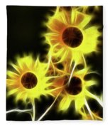 Sunflowers-4955-fractal Fleece Blanket