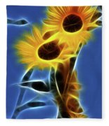 Sunflowers-4969-fractal Fleece Blanket