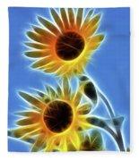 Sunflowers-5246-fractal Fleece Blanket
