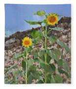Sunflowers And A Stone Wall Fleece Blanket