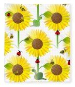 Sunflowers And Bees Fleece Blanket