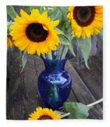 Sunflowers And Blue Vase - Still Life Fleece Blanket