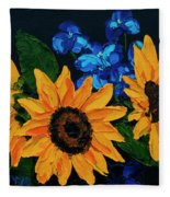 Sunflowers And Delphinium Fleece Blanket