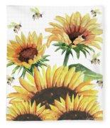 Sunflowers And Honey Bees Fleece Blanket