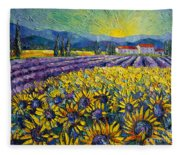 Sunflowers And Lavender Field - The Colors Of Provence Modern Impressionist Palette Knife Painting Fleece Blanket
