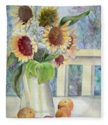 Sunflowers And Peaches Fleece Blanket