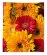 Sunflowers And Red Mums Fleece Blanket
