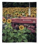 Sunflowers And Tractor Fleece Blanket