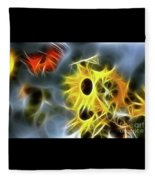 Sunflowers-butterfly-5233-fractal Fleece Blanket