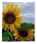 Sunflowers Close Up Fleece Blanket