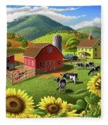 Sunflowers Cows Appalachian Farm Landscape - Rural Americana - Farm Animals - 1950 Farm Life - Barn Fleece Blanket