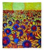 Sunflowers Field At Sunrise Fleece Blanket