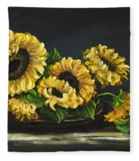 Sunflowers From The Garden Fleece Blanket
