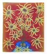 Sunflowers In A Blue Vase Fleece Blanket