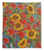 Sunflowers In Blue Pitcher. Fleece Blanket