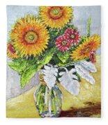 Sunflowers In Glass Vase Fleece Blanket