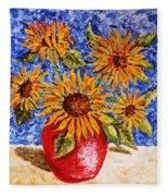 Sunflowers In Red Vase. Fleece Blanket