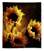 Sunflowers In Shadow Fleece Blanket