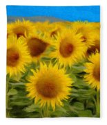 Sunflowers In The Field Fleece Blanket