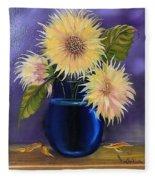 Sunflowers In Vase Fleece Blanket