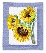 Sunflowers On Baby Blue Fleece Blanket