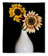 Sunflowers On Black Background And In White Vase Fleece Blanket