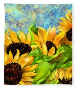 Sunflowers On Holiday Fleece Blanket