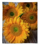Sunflowers On White Boards Fleece Blanket