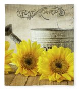 Sunflowers Postcard Fleece Blanket