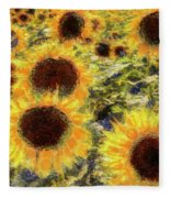 Sunflowers Summer Van Gogh Fleece Blanket