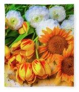 Sunflowers Tulips Fleece Blanket